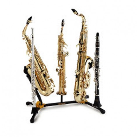 Hercules DS538B - Duo Alto/Tenor SAX Stand with 2 Clarinet/Flute Pegs and 1 Soprano SAX Peg